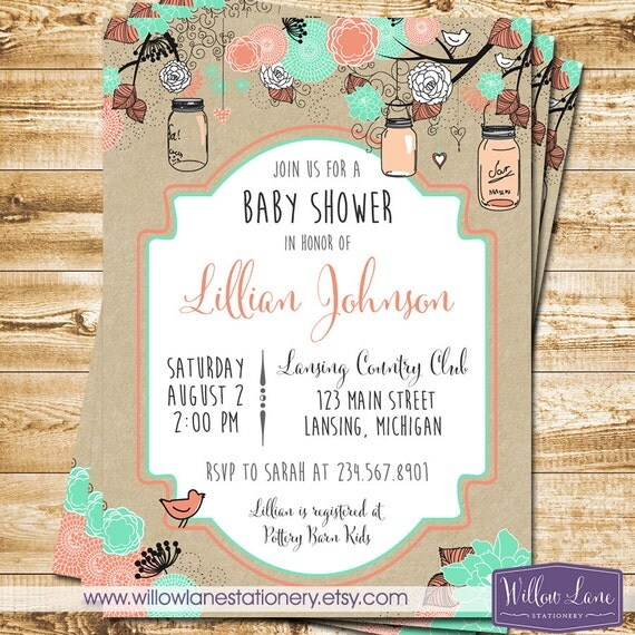 Girl Baby Shower Invitation - Gender Neutral Hanging Mason Jar Baby Shower Invitation - Kraft Coral Mint Green Mason Jars - 1302 PRINTABLE