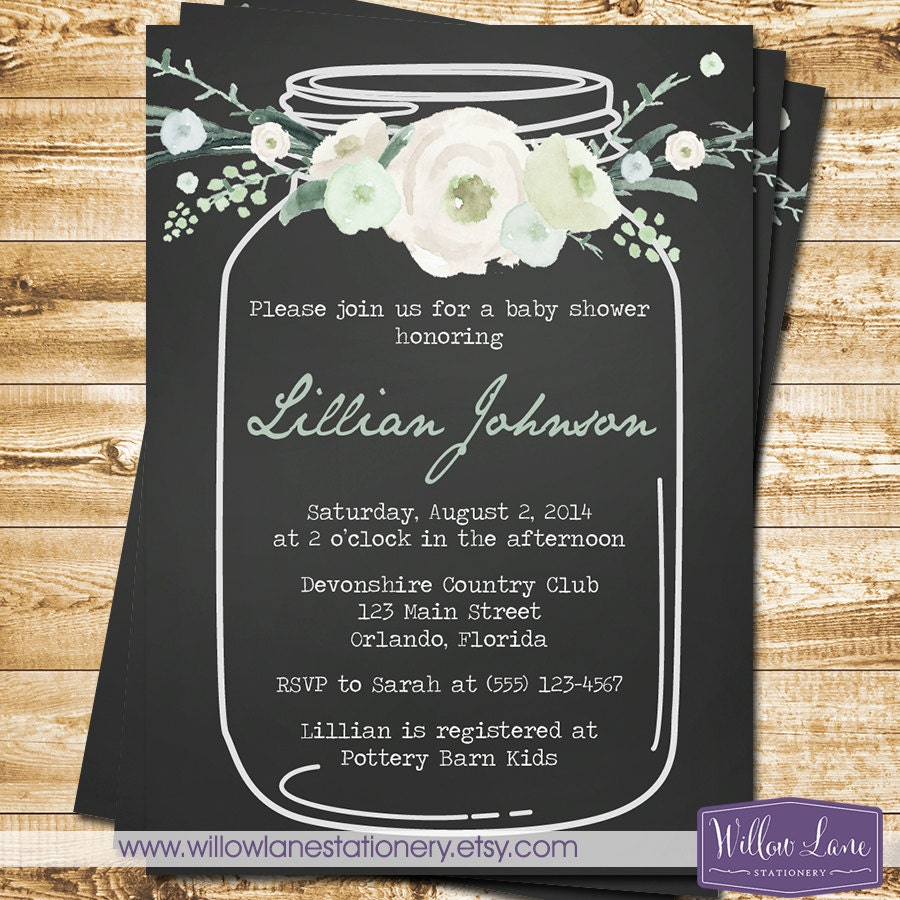 vintage mason jar baby shower invitation watercolor blue green