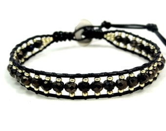 Leather Wrap Bracelet, Crystal Bracelet, Crystal Leather Bracelet, Seed Bead Bracelet, Wrap Bracelet, Single Wrap Bracelet, Gift for her
