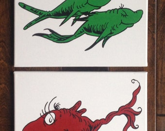 "One Fish, Two Fish, Red Fish, Blue Fish on WHITE inspired by Dr. Seuss: Set of 4 canvases - each 11"" x 14"""