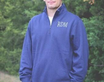 Men's Monogrammed 1/4 Zip Sweatshirt/Men's Quarter Zip Pullover