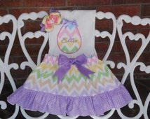 Baby Girl Easter Outfit/ Easter Egg Applique Outfit/First Easter Outfit/Baby Girls Easter Outfit/Easter Eggs Outfit/Chevron Easter Outfit