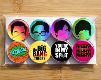 Big Bang Theory Bazinga Sheldon Penny You're in my spot Magnets - Set of 8 magnets - 1 inch each - wrapped in cello bag - Strong magnets