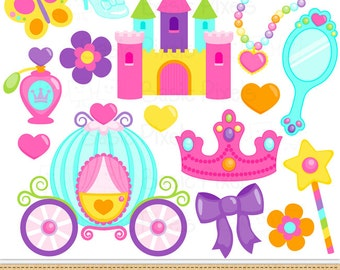 Colorful Princess Clip Art - Princess clipart -commercial use