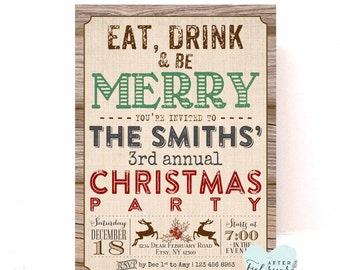 Eat Drink and Be Merry Holiday Party Invitations Holiday Invite Christmas Printables Christmas Invitations Invite Printable No.14XMAS