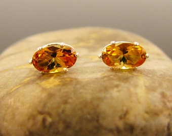 Oval stud earrings with golden citrine, oval earrings yellow citrine 5x3 mm, citrine silver studs,