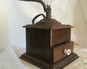 Antique Coffee Grinder, Coffee Mill for Java, Mocha, Cowboy coffee, Cast Iron & wood, restaurant decor, movie set prop
