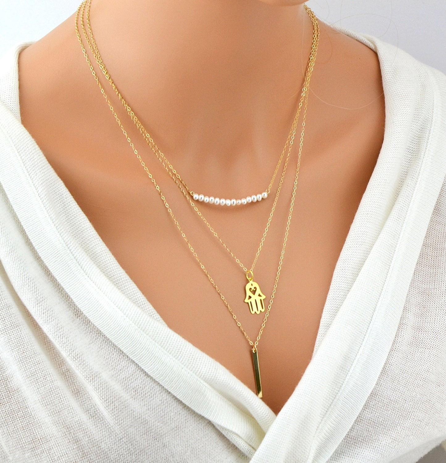 gold layered necklace layered necklace set three layer