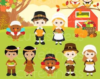 Thanksgiving Digital Clipart, Thanksgiving Clipart, Pilgrim Clipart