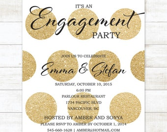 gold engagement party invitation, gold glitter engagement party invite, customizable