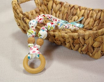 100% Organic Cotton Natural Teething Necklace with Wood Ring - Spring Meadow