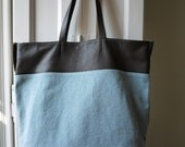 Nice brown leather and canvas shopper tote  bag.
