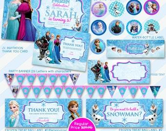 50% OFF SALE Disney Frozen Invitation Party Package,Printable Frozen Favors,Frozen Printable File