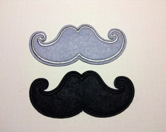 Iron on Sew on Patch:  Mustache