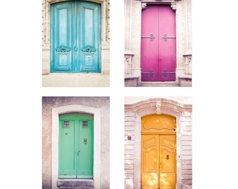 4 French Doors Prints Set, France photography, French door photography, French photography, French doors, 8x12in, MNM Photo