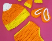 Baby Candy Corn Handmade Crocheted Halloween Set OutfitPhotography Prop