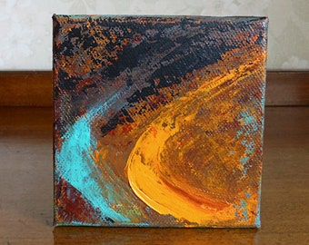 Commission an Abstract Painting, orange turquoise art, square canvas, Original Art, custom made painting, free shipping