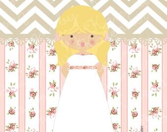 First Communion or Confirmation Girl Invitation NCR-03. A la Carte. DIY Printable.