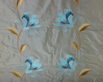 Aqua Embroidered Silk Floral Fabric - Silk Fabric By The Yard - Embroidered Fabric By The Yard