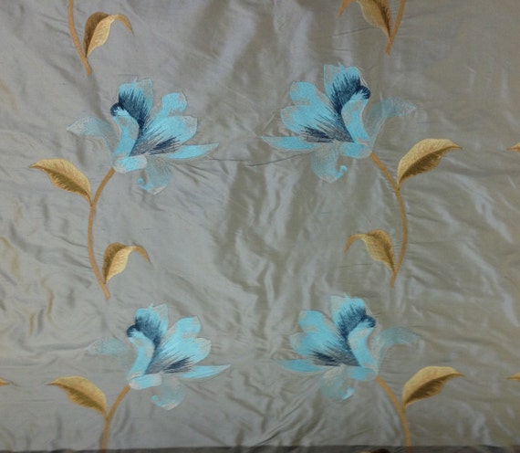 Aqua Embroidered Silk Floral Fabric Silk Fabric By The
