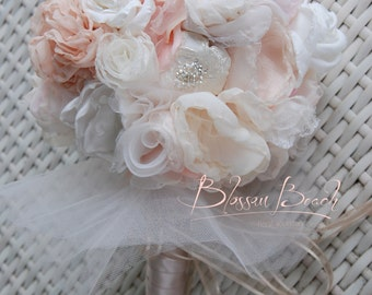 Blush fabric flower and brooch bridal bouquet. Fabric flower bouquet. Bridal bouquet.