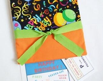 HAPPY BIRTHDAY Pillow Case, ORANGE Birthday Gift, Slumber Party Decorations, Sleepover Party Birthday Present, Pajama Party, Birthday Party