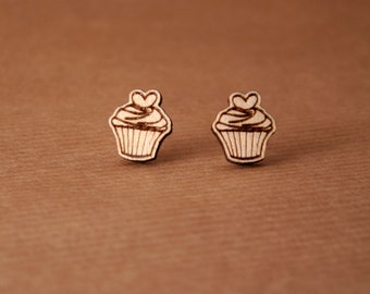 Laser cut wooden earrings – Cupcakes earrings