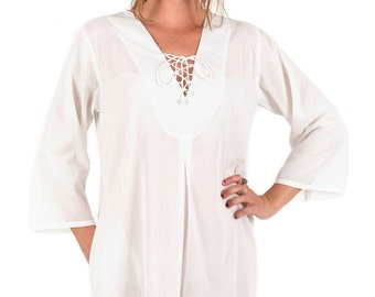 Cotton Beach Cover-Up with Zipper Pocket - White