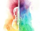 Watercolor Colorful Cello--Rainbow Painting Instrument Print, Original Artwork