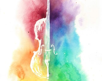 Watercolor Colorful Cello--Rainbow Painting Instrument Print, Original Artwork