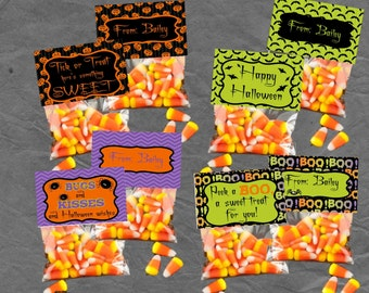 PERSONALIZED Halloween Treat Bag Toppers Birthday and Party