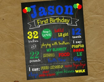UNO Birthday Chalkboard Poster - Any Colors and Size