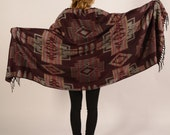 indian wool shawl, blanket, ethnic pattern, aztec, hippie, goa, peru, pendleton
