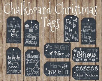 Christmas Chalkboard Gift Tag Set- 10 hang Tags- Instant Digital Download. Printable Gift Tags