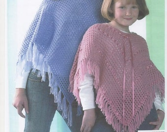 Ladies poncho, ladies knitted shawl, poncho knitting pattern, vintage poncho. Matching Poncho's. Girls Poncho.  Knitting pattern only.