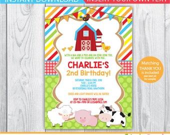 barnyard birthday / barnyard invitation / barnyard birthday invitation / barnyard party invitation / barnyard birthday invites / INSTANT