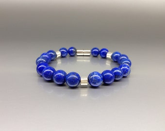 Beaded Lapis Lazuli bracelet with Sterling silver - gift idea - silver and blue - AA+ Grade Lapis - men's jewelry - classic