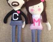 Valentines, Couple dolls, Velcro at hands, Love, Custom made, Forever, Plush Doll, Great gift, Cute stuffed doll, Birthday Gift, Handmade
