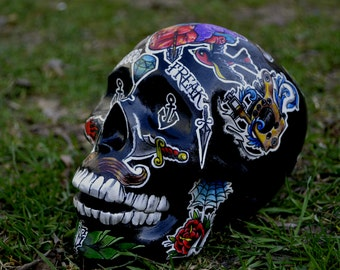One Of A Kind Present Handmade Tattoo Day Of The Dead Ceramic Mexican Sugar Skull - MADE TO ORDER