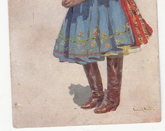 Antique Artist Signed Czechoslovakia Costume Authentic Pretty Lady Fashion 1910 Postcard