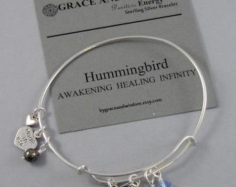 Hummingbird,Bracelet,Positive Energy,Pyrite,Bird Bracelet,,Hummingbird Bracelet,Bird Bangle,Birthstone,Bird,Sterling Bracelet,Bangle