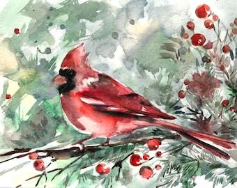 Watercolor Painting Art Print of Cardinal Bird, Red Bird Painting, Watercolour Wall Art