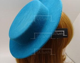 TRENDY Fashion Plain Wool Felt Mini Boater Hat Fascinator - Turquoise