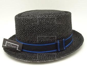 Summer Beach Straw PORK PIE HAT - Black