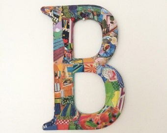 Letter B, Multi-colored Metal Letter B, Decoupage Letter B, Initial B, Wall Art