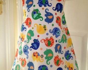 Pinafore girls dress, Michael Miller Elephant Romp, age 3, 100% cotton, fully lined, shoulder button fastening