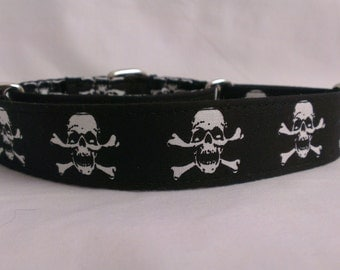 "Martingale Collar - Whippet, and Small to Medium Dog - 1"" width - Jolly Roger"