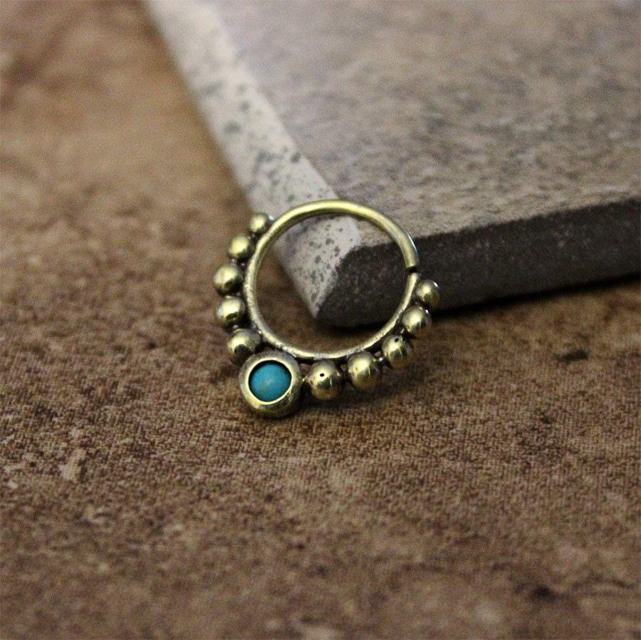 septum messingring mit t rkis stein nase piercing septum. Black Bedroom Furniture Sets. Home Design Ideas