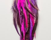 Playful Beauty Winged Shamaness Magenta and Purple Dangle Feather Earrings