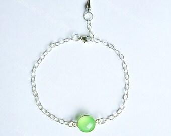 Peridot Green Chalcedony Bracelet, Silver Bracelet, Chalcedony bracelet, Green Bracelet, thin bracelet, Chain Bracelet, unique bracelet
